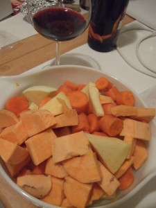 rutabaga, carrots, sweet potato