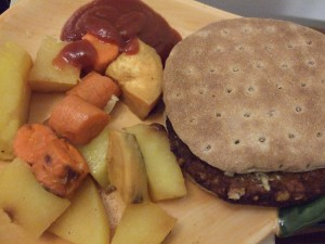Black Bean Burger and Roasted Vegetables