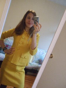 Yellow wool suit