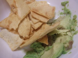 pita chips and avocado
