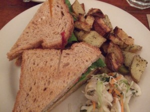 Grilled tofu sandwich from the Organic Grill