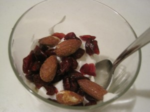 Fage with cranberries and almonds