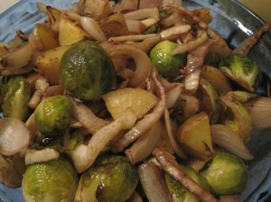 Roasted brussels sprouts, fennel, and potatoes