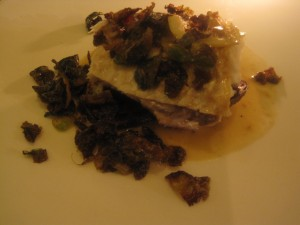 Sea bass with potatoes and brussels sprouts