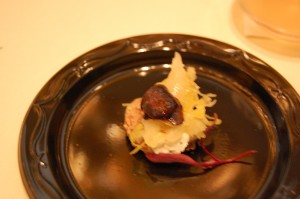 Hazlenut and sauerkraut crostini from Pure Food & Wine